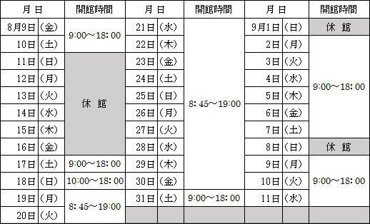 高校生対象中央図書館の夏期日程表